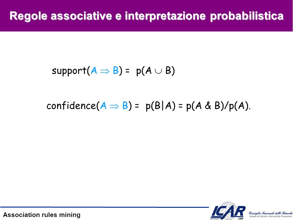 Regole associative e interpretazione probabilistica