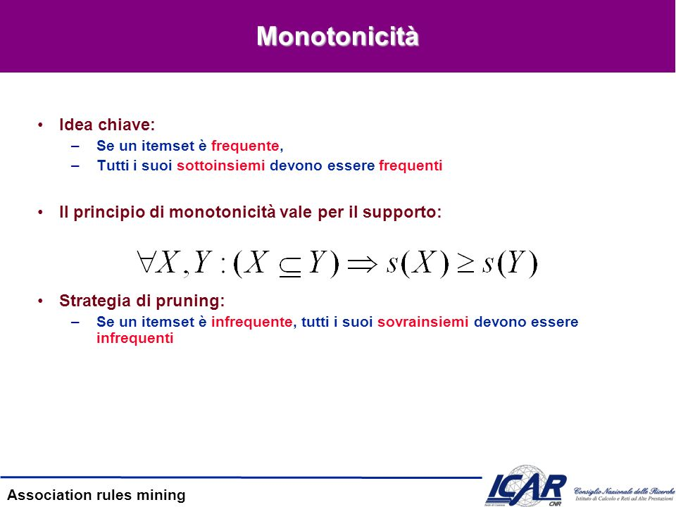 Monotonicità Idea chiave: