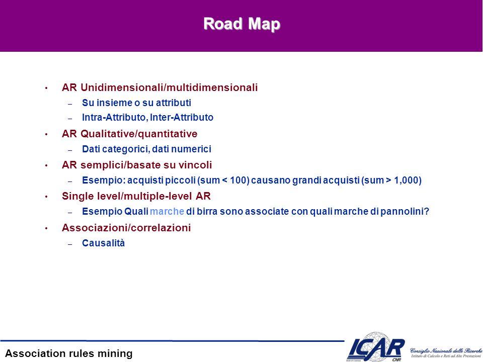 Road Map AR Unidimensionali/multidimensionali