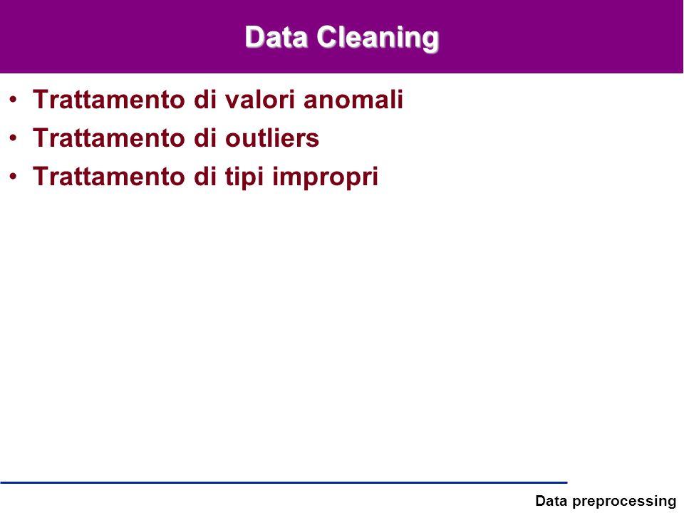 Data Cleaning Trattamento di valori anomali Trattamento di outliers