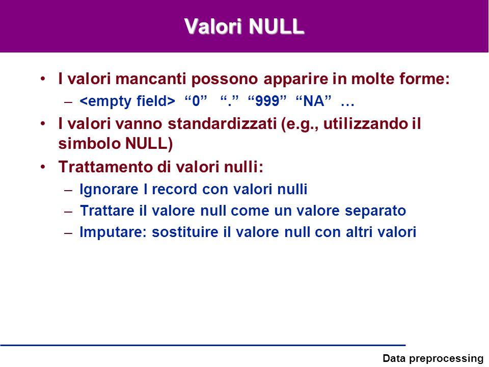 Valori NULL I valori mancanti possono apparire in molte forme: