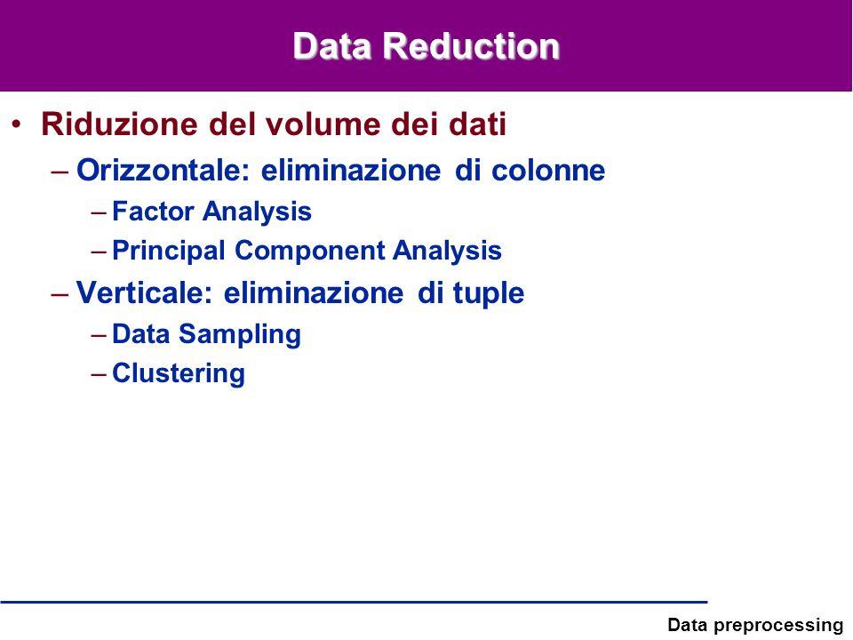 Data Reduction Riduzione del volume dei dati