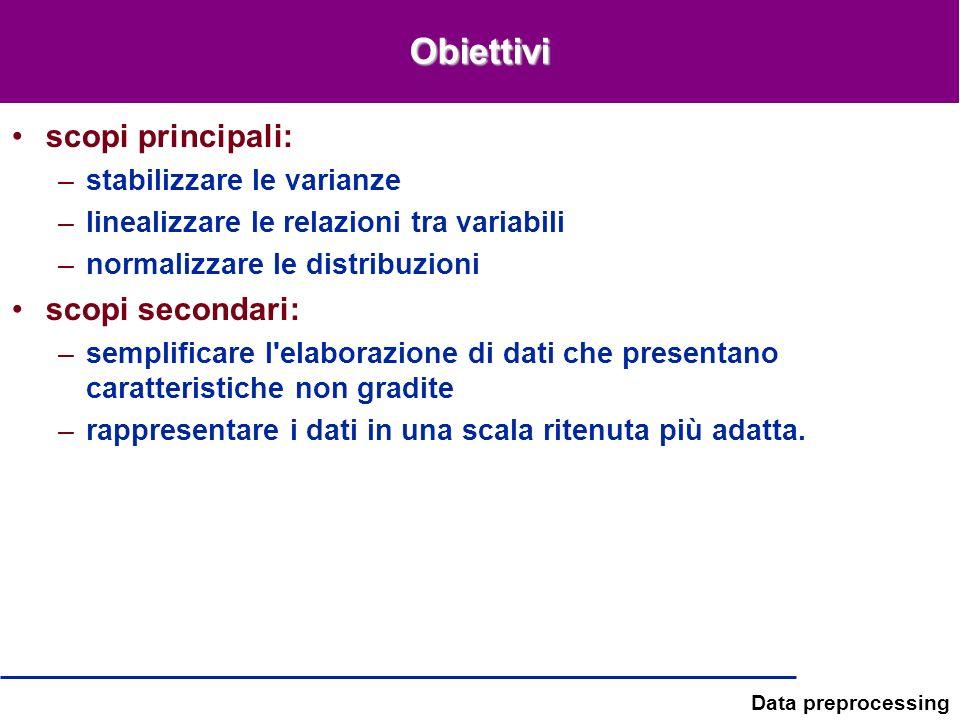 Obiettivi scopi principali: scopi secondari: stabilizzare le varianze