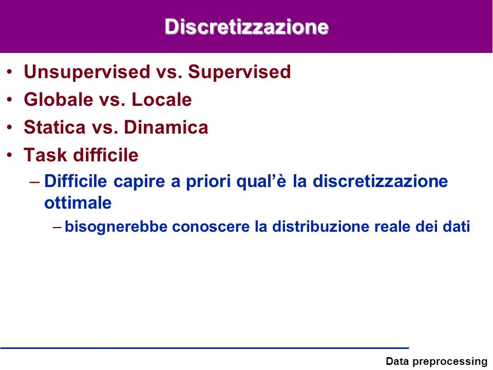 Discretizzazione Unsupervised vs. Supervised Globale vs. Locale