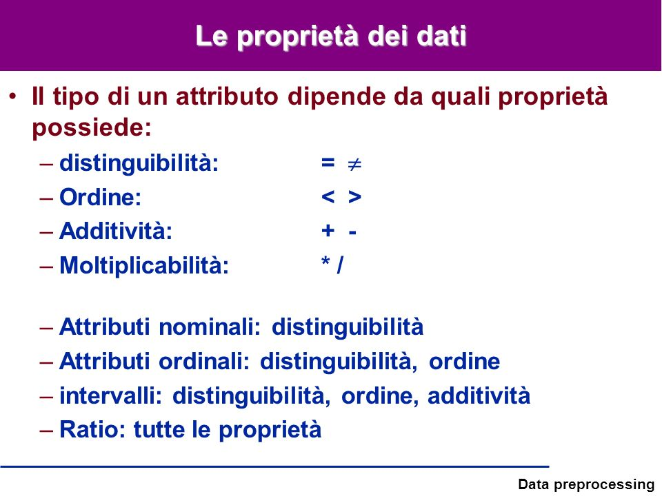 Le proprietà dei dati Il tipo di un attributo dipende da quali proprietà possiede: distinguibilità: = 