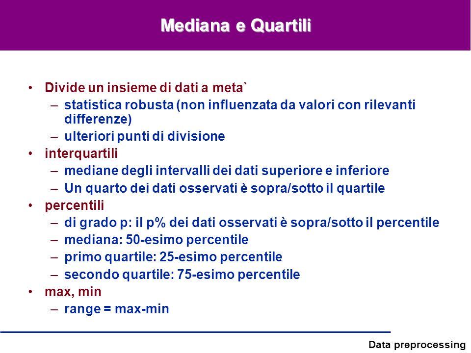 Mediana e Quartili Divide un insieme di dati a meta`