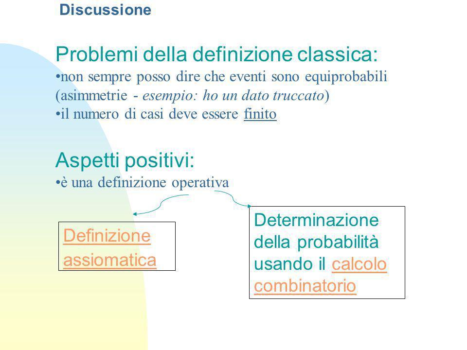Problemi della definizione classica:
