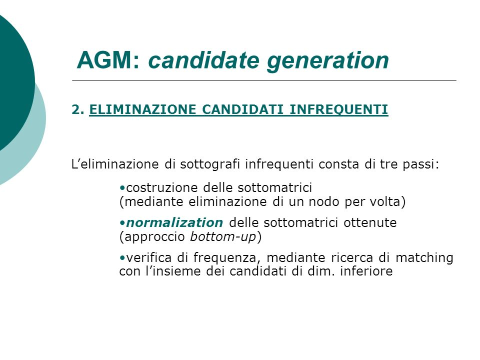 AGM: candidate generation