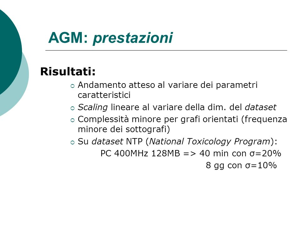 AGM: prestazioni Risultati: