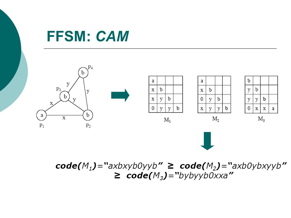 FFSM: CAM code(M1)= axbxyb0yyb ≥ code(M2)= axb0ybxyyb ≥ code(M3)= bybyyb0xxa