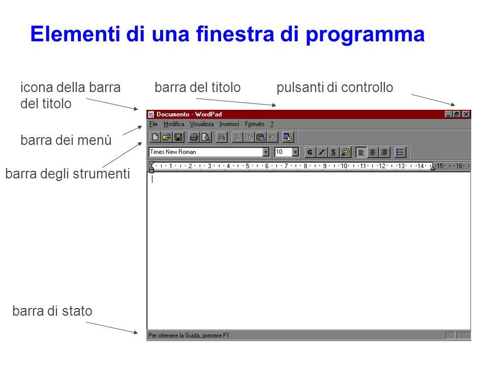 Elementi di una finestra di programma