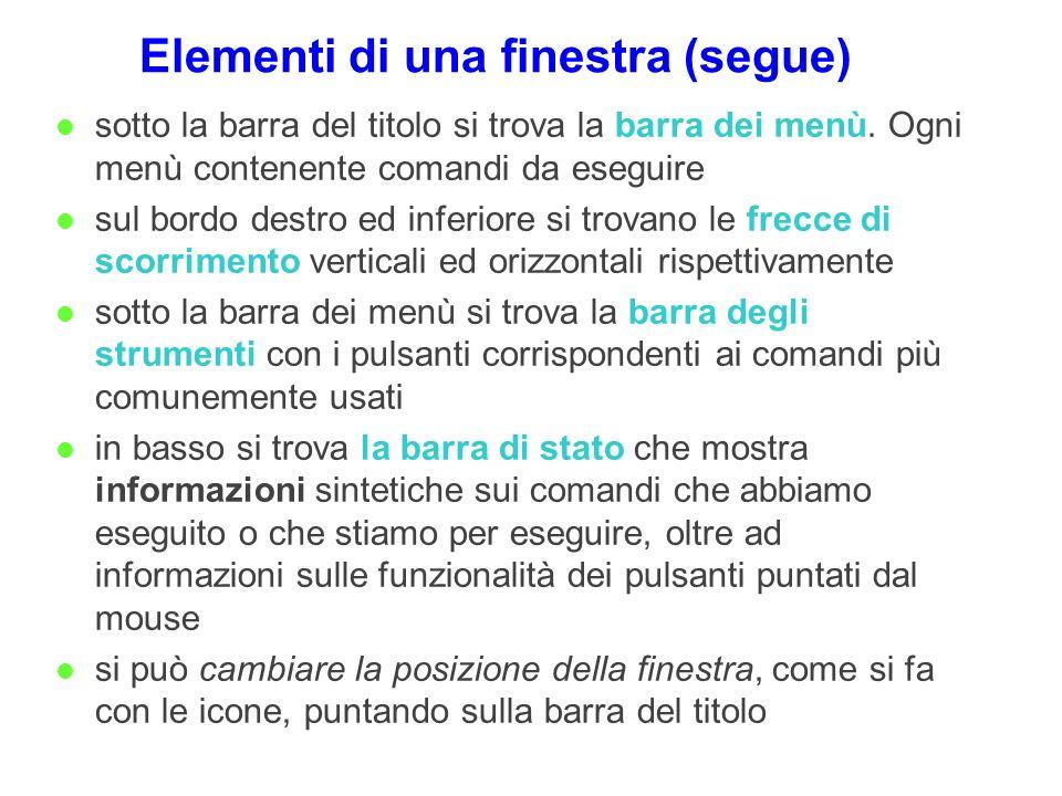 Elementi di una finestra (segue)