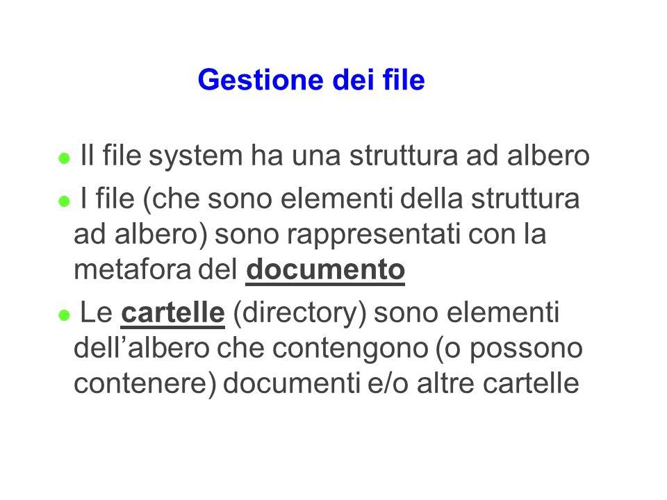 Gestione dei file Il file system ha una struttura ad albero.