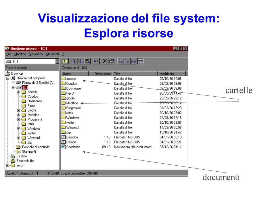 Visualizzazione del file system: Esplora risorse