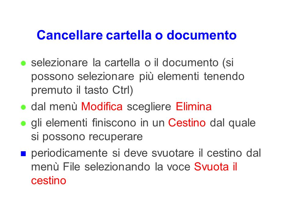 Cancellare cartella o documento
