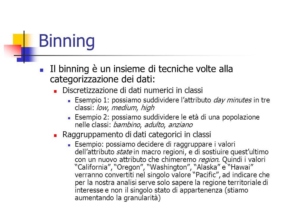 Binning Il binning è un insieme di tecniche volte alla categorizzazione dei dati: Discretizzazione di dati numerici in classi.