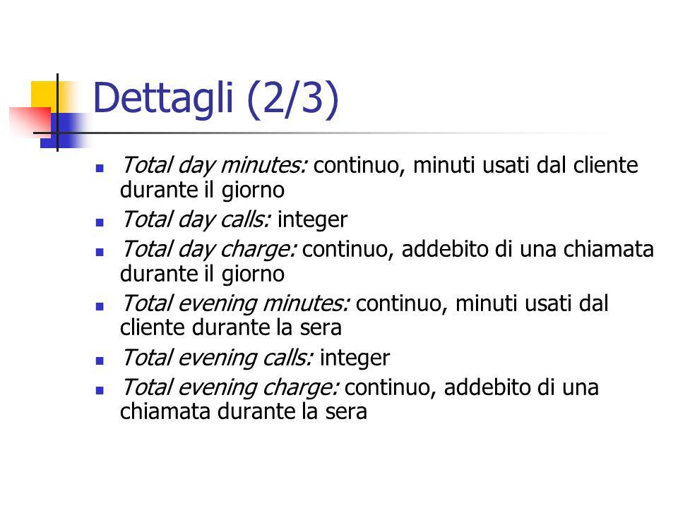 Dettagli (2/3)Total day minutes: continuo, minuti usati dal cliente durante il giorno. Total day calls: integer.