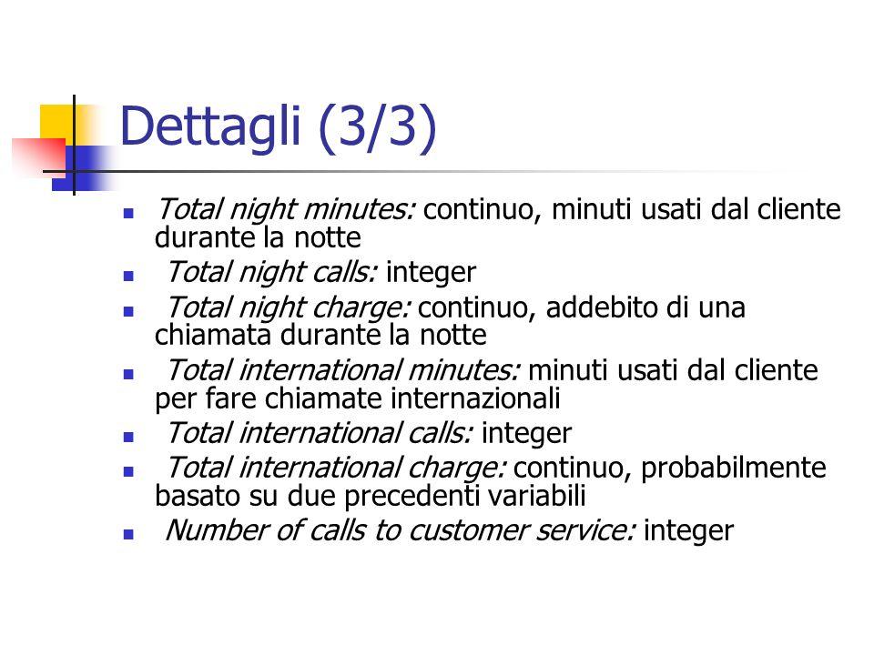 Dettagli (3/3)Total night minutes: continuo, minuti usati dal cliente durante la notte. Total night calls: integer.