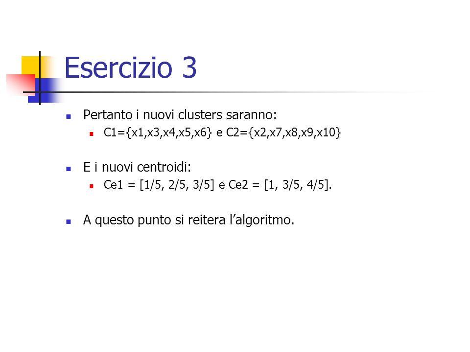 Esercizio 3 Pertanto i nuovi clusters saranno: E i nuovi centroidi: