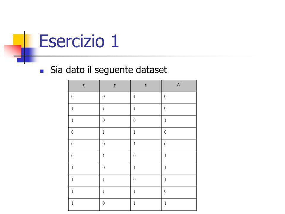 Esercizio 1 Sia dato il seguente dataset x y z U 1