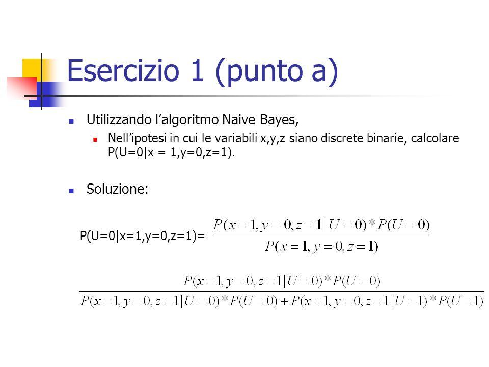 Esercizio 1 (punto a) Utilizzando l'algoritmo Naive Bayes, Soluzione: