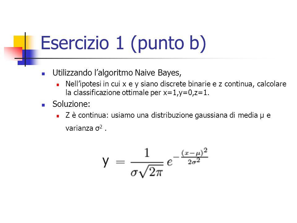 Esercizio 1 (punto b) y Utilizzando l'algoritmo Naive Bayes,