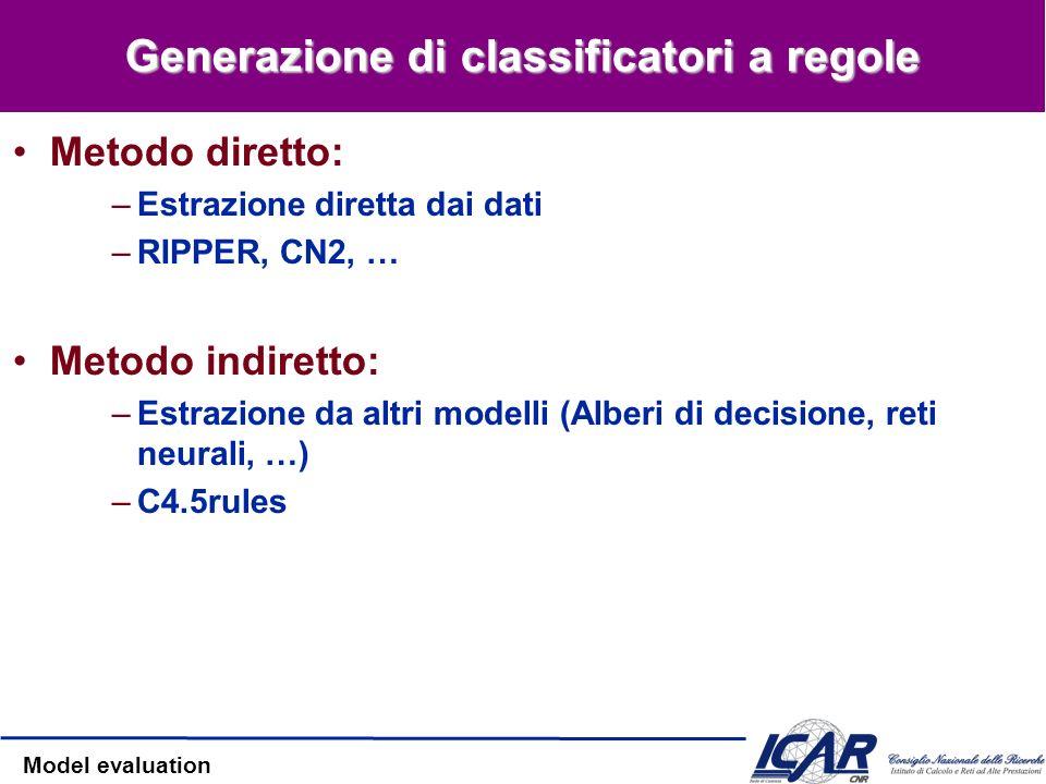 Generazione di classificatori a regole