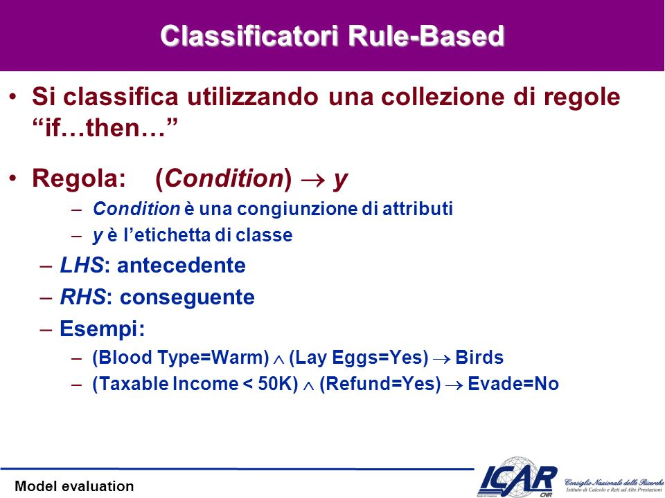 Classificatori Rule-Based