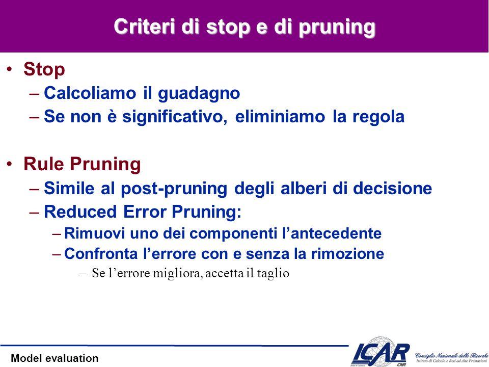 Criteri di stop e di pruning
