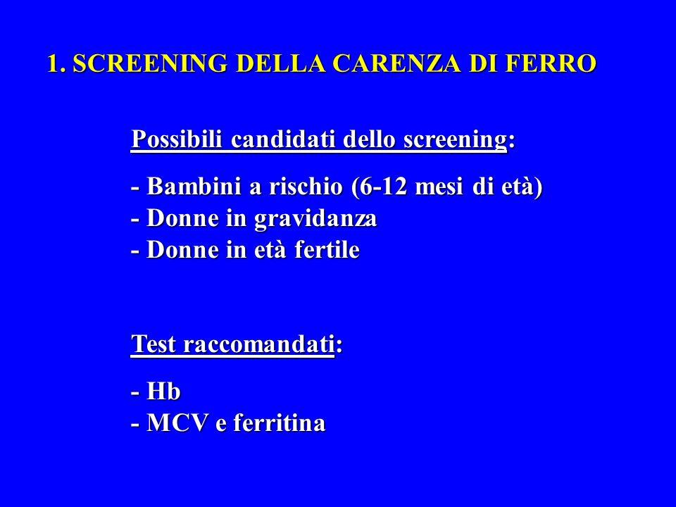 1. SCREENING DELLA CARENZA DI FERRO