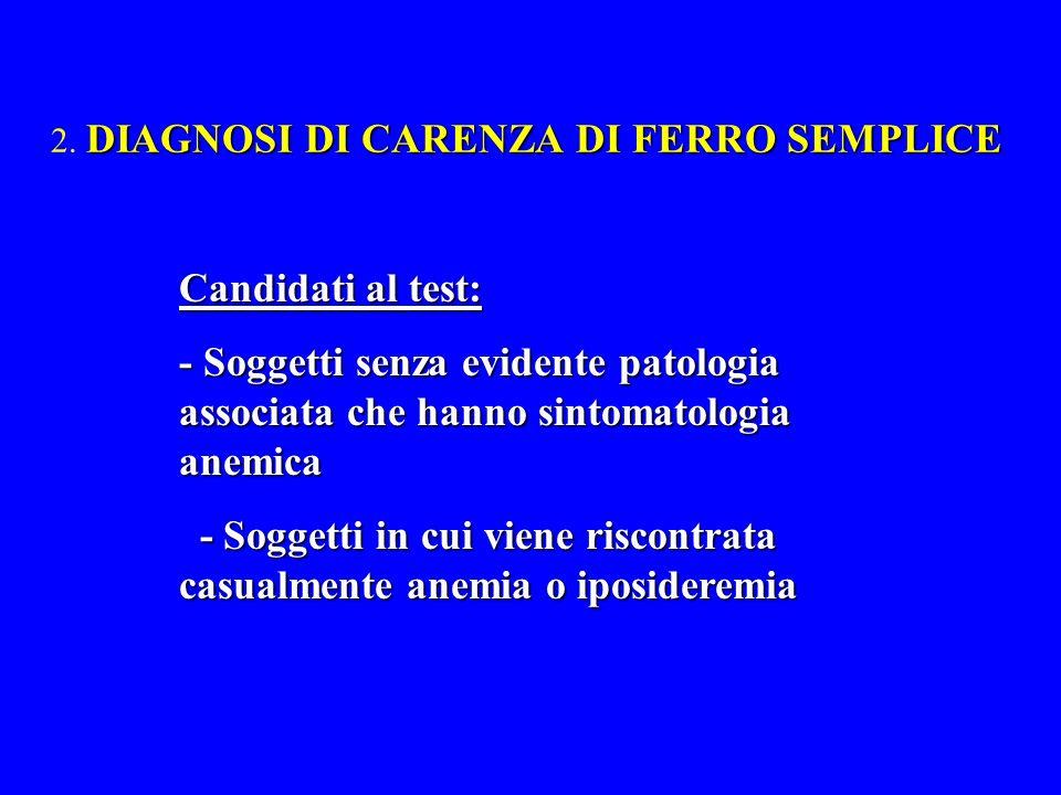 2. DIAGNOSI DI CARENZA DI FERRO SEMPLICE
