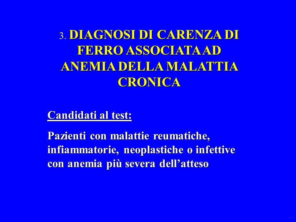 3. DIAGNOSI DI CARENZA DI FERRO ASSOCIATA AD ANEMIA DELLA MALATTIA CRONICA
