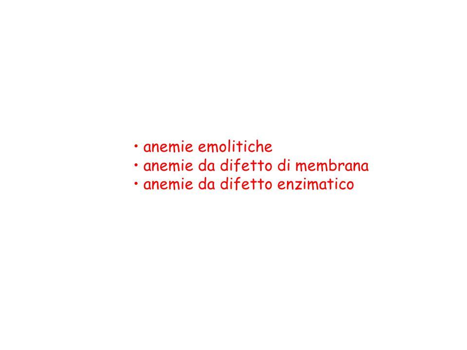 anemie emolitiche anemie da difetto di membrana anemie da difetto enzimatico