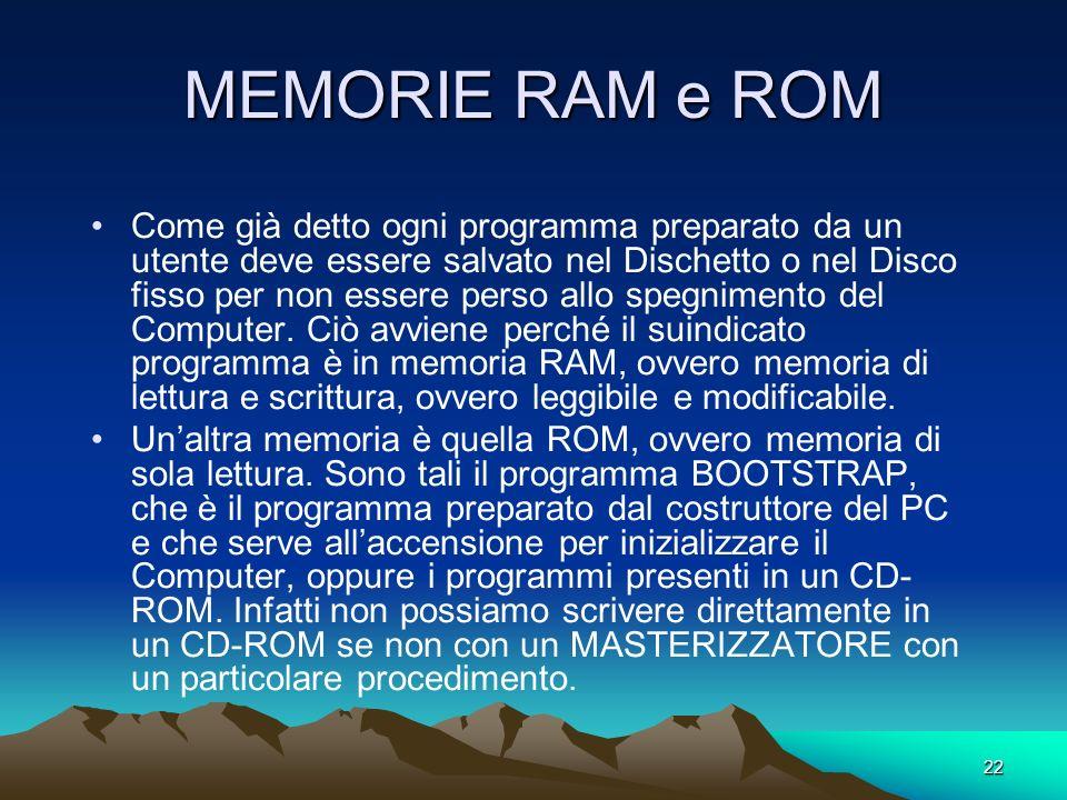 MEMORIE RAM e ROM