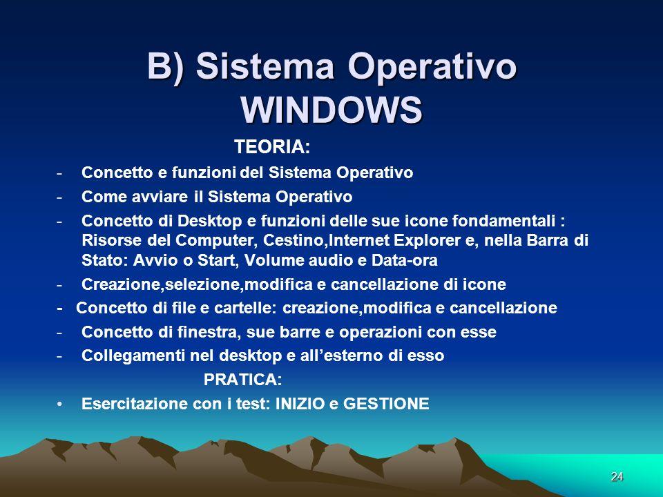 B) Sistema Operativo WINDOWS