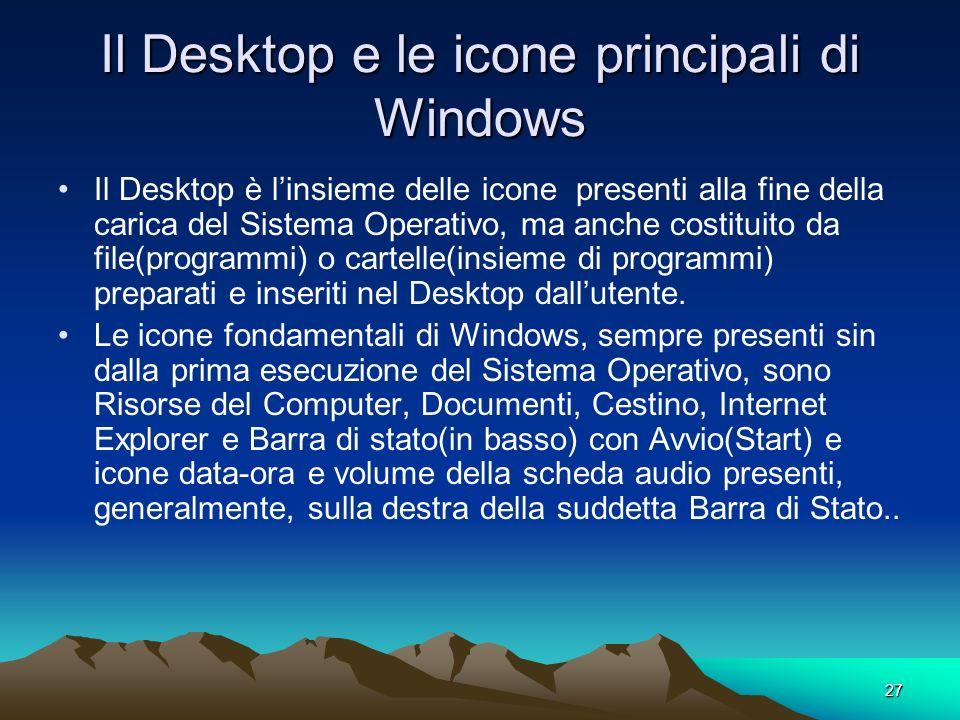 Il Desktop e le icone principali di Windows