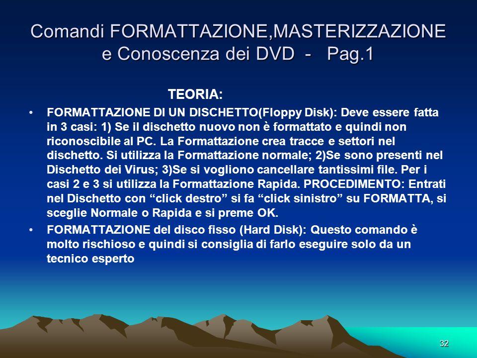 Comandi FORMATTAZIONE,MASTERIZZAZIONE e Conoscenza dei DVD - Pag.1