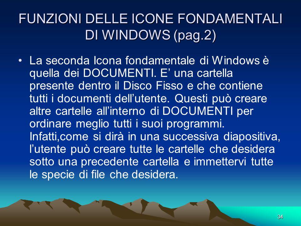 FUNZIONI DELLE ICONE FONDAMENTALI DI WINDOWS (pag.2)