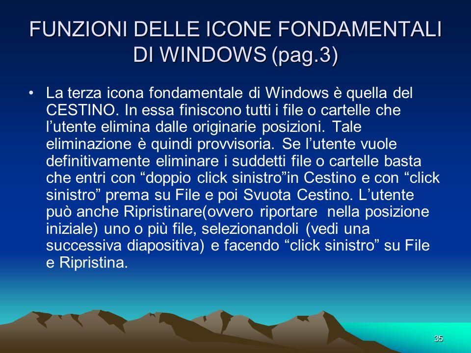 FUNZIONI DELLE ICONE FONDAMENTALI DI WINDOWS (pag.3)