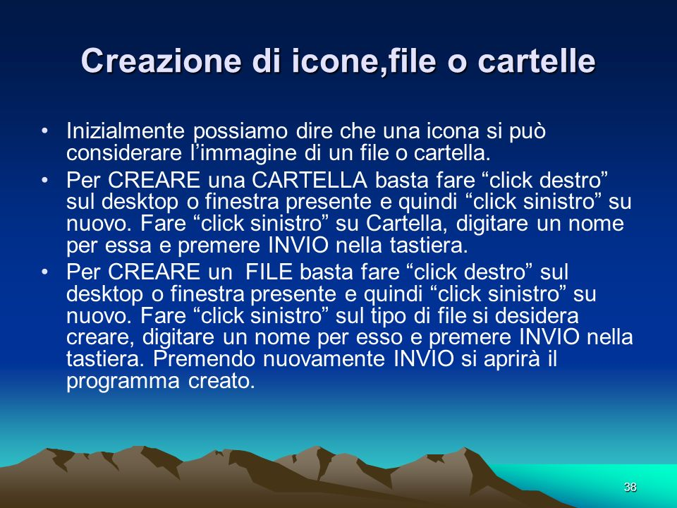 Creazione di icone,file o cartelle