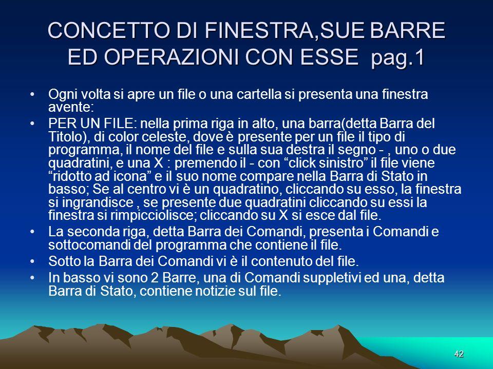 CONCETTO DI FINESTRA,SUE BARRE ED OPERAZIONI CON ESSE pag.1