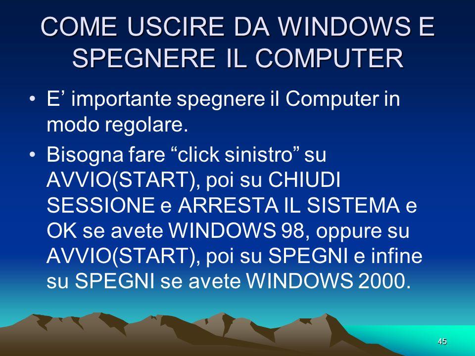 COME USCIRE DA WINDOWS E SPEGNERE IL COMPUTER