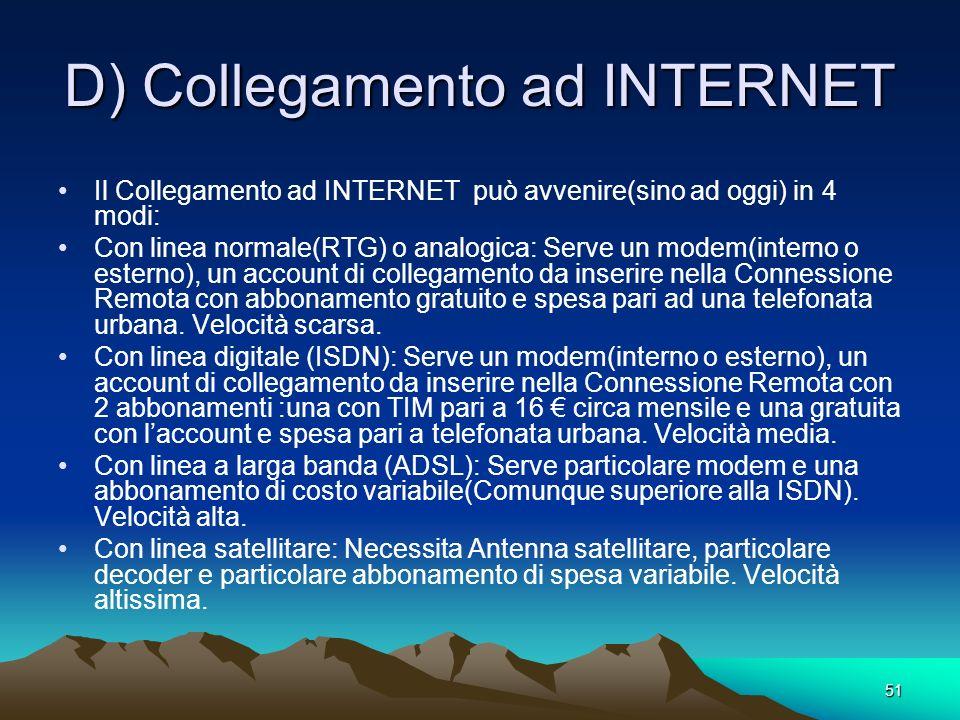 D) Collegamento ad INTERNET