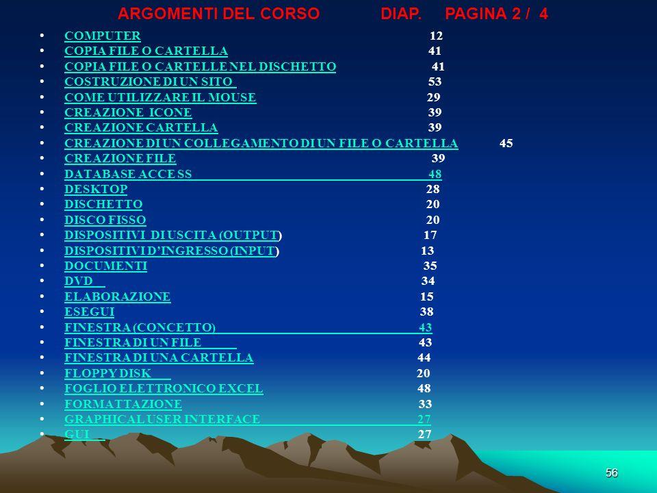 ARGOMENTI DEL CORSO DIAP. PAGINA 2 / 4