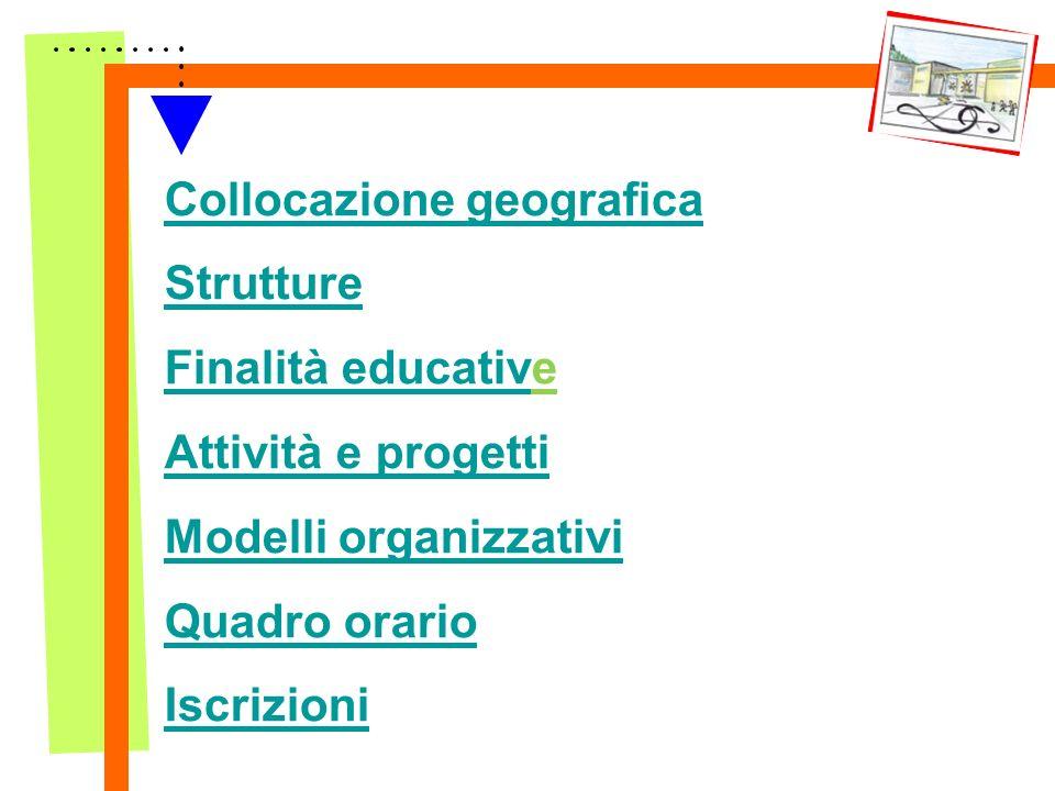 Collocazione geografica Strutture Finalità educative Attività e progetti Modelli organizzativi Quadro orario Iscrizioni