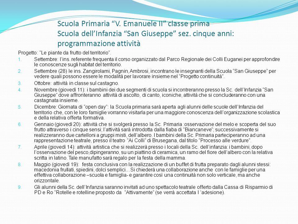 Scuola Primaria V. Emanuele II classe prima Scuola dell'Infanzia San Giuseppe sez. cinque anni: programmazione attività