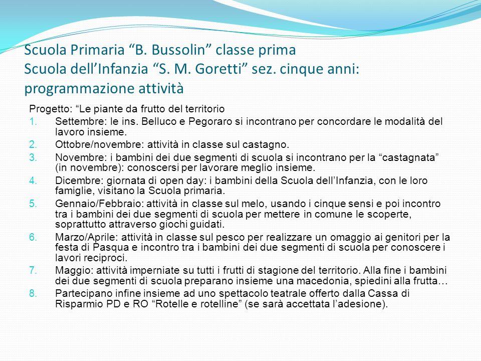 Scuola Primaria B. Bussolin classe prima Scuola dell'Infanzia S. M