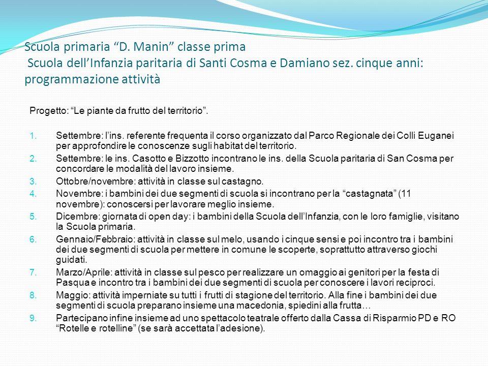 Scuola primaria D. Manin classe prima Scuola dell'Infanzia paritaria di Santi Cosma e Damiano sez. cinque anni: programmazione attività