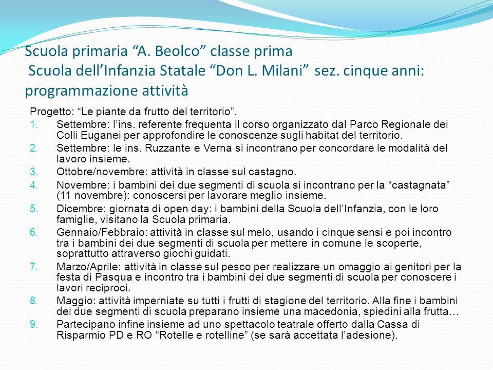 Scuola primaria A. Beolco classe prima Scuola dell'Infanzia Statale Don L. Milani sez. cinque anni: programmazione attività