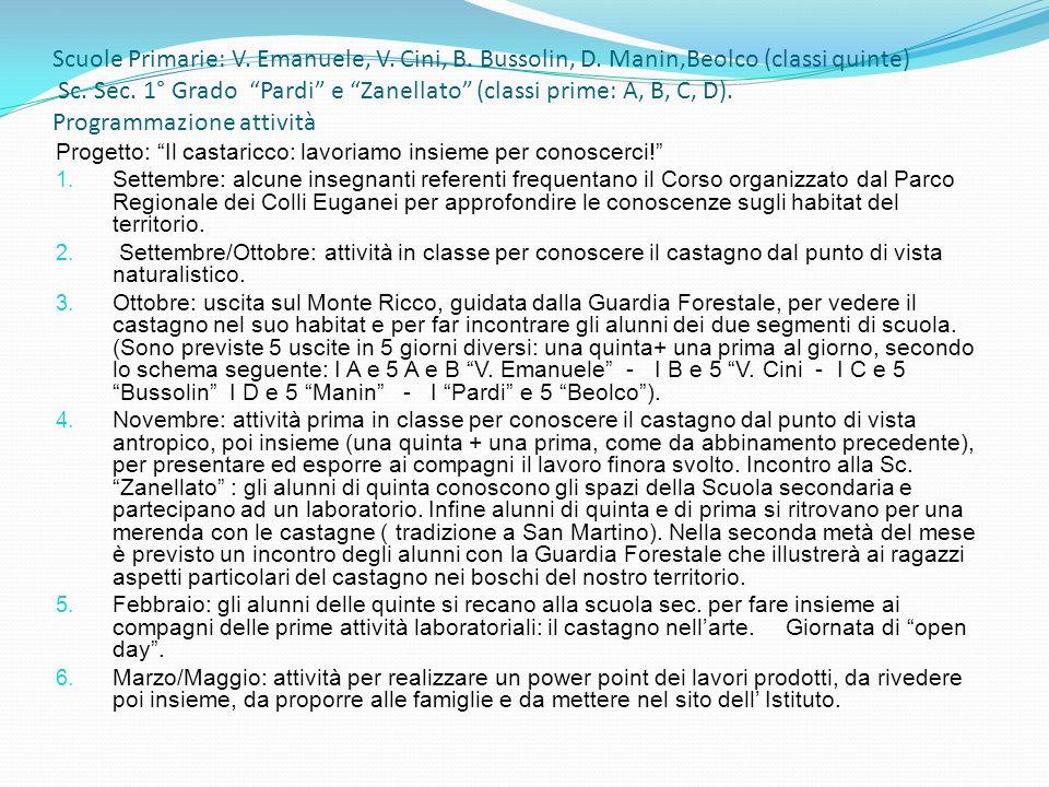 Scuole Primarie: V. Emanuele, V. Cini, B. Bussolin, D